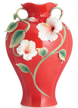 Franz Porcelain Island Beauty Hibiscus Vase With Wooden Base Limited Edition 988 FZ02817