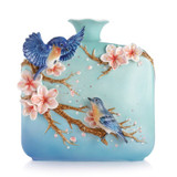 Franz Porcelain Jovial Bluebird And Cherry Blossom Vase FZ03092