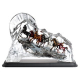 Franz Porcelain Lucite Eight Proud Horses Running Miles In Wind Figurine With Wooden Base FL00111