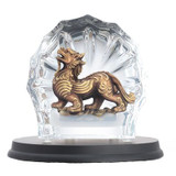 Franz Porcelain Lucite Mythical Piuxiu With Fortune Figurine With Wooden Base FL00117