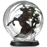 Franz Porcelain Lucite Porcelain Horse and Metal Pine Tree With Wooden Base FL00089