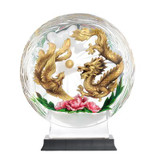Franz Porcelain Lucite Prosperous Dragon Phoenix and Peony Figurine With Wooden Base FL00121