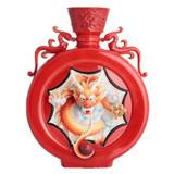 Franz Porcelain Majestic Dragon With Octagonal Design Sculptured Porcelain Red Round Vase FZ02827