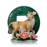 Franz Porcelain Oxen Design Sculptured Porcelain Figurine FZ02033