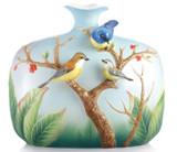 Franz Porcelain Pleasant Scene Rufous Bellied Niltava Vase FZ02843