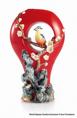 Franz Porcelain Plum Blossom Wild Bird Design Sculptured Porcelain Vase FZ02950