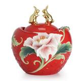 Franz Porcelain Rabbit Zodiac Design Sculptured Porcelain Tw0 Golden Rabbits and Peony Treasure Bowl  FZ02543