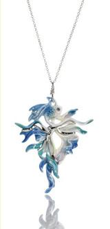 Franz Porcelain Rainbow Fish Rhodium Plated Brass & Porcelain Pendant FJ00024