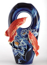 Franz Porcelain Red Arowana Fish Vase With Wooden Base Limited Edition 1688 FZ03089