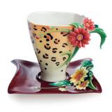 Franz Porcelain Safari Jewels Of The Jungle Leopard Cup Saucer Set FZ02143