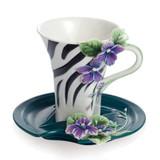 Franz Porcelain Safari Jewels Of The Jungle Zebra Cup Saucer Set FZ02144