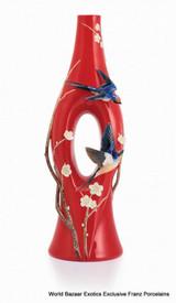 Franz Porcelain Swallow and Plum Flower Design Sculptured Porcelain Large Vase FZ02860