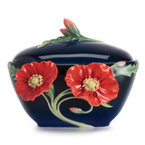 Franz Porcelain The Serenity Poppy Flower Sugar Jar FZ02477