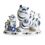 Franz Porcelain The Tigers Of Fortune Blue and White Tiger Figurine FZ02313