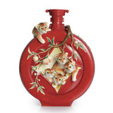 Franz Porcelain Tiger Design Sculptured Porcelain Five Baby Tigers and Peach Red Large Vase FZ02316
