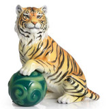 Franz Porcelain Tiger Design Sculptured Porcelain Tiger and Jade Cloud Figurine FZ02315