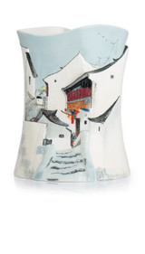 Franz Porcelain Town In River South Vase With Wooden Base Limited Edition 588 FZ02695