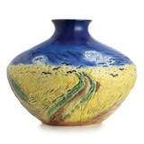 Franz Porcelain Van Gogh Wheatfield With Crows Design Sculptured Porcelain Mid Size Vase FZ02685