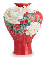 Franz Porcelain Venice Peony Design Sculptured Porcelain Large Vase FZ02687