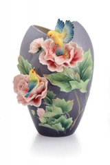Franz Porcelain Warbler and Taiwan Cotton Rose Vase Limited Edition 999 FZ02941