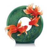 Franz Porcelain Wealth and Honor-Goldfish Design Sculptured Porcelain Vase FZ03072