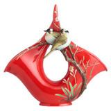 Franz Porcelain Winter-Sweet and Mountain Birds Design Sculptured Porcelain Vase FZ02588