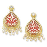 Jackie Kennedy Gold-plated Simulated Pearl Enameled French Moroccan Post Earrings MPN: CT389