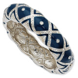 Jackie Kennedy Silver-tone Swarovski Crystal Blue Enameled 8 Inch Bangle MPN: CT401-8