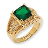Size 7 Jackie Kennedy Gold-plated Swarovski Crystal Green Princess-cut Ring MPN: CT410-7