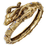 Jackie Kennedy Gold-plated Swarovski Crystal 8 inch Ram's Head Bangle MPN: CT429-8