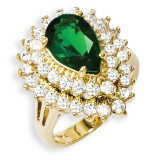 Size 7 Jackie Kennedy Gold-plated Swarovski Crystal and CZ Cocktail Ring MPN: CT432-7