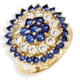 Size 6 Jackie Kennedy Gold-plated Swarovski Crystal Bullseye Ring MPN: CT434-6