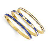 Jackie Kennedy Set of Three Blue & White Swarovski Crystal 8 inch Bangles MPN: CT460-8