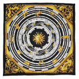 Jackie Kennedy Black Zodiac Handmade Silk 35 Inch Fashion Scarf MPN: CT471