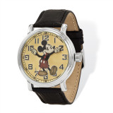 Disney Black Leather with Moving Arms Mickey Mouse Watch Adult Size MPN: XWA4390