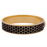 Halcyon Days Honeycomb Black Gold 13mm Hinged Bangle HBHON0213G EAN: 5060171148388
