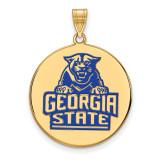 Georgia State University XLarge Enamel Disc Pendant in Gold-plated Silver by LogoArt MPN: GP003GAS