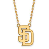 San Diego Padres Large Pendant with Chain Necklace in Gold-plated Silver by LogoArt MPN: GP009PAD-18