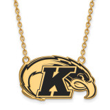 Kent State University Large Enamel Pendant with Chain Necklace in Gold-plated Silver by LogoArt MPN: GP010KEN-18