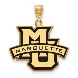 Marquette University Large Enamel Pendant in Gold-plated Silver by LogoArt MPN: GP011MAR