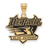 DePaul University Enamel Large Pendant in Gold-plated Silver by LogoArt MPN: GP013DPU