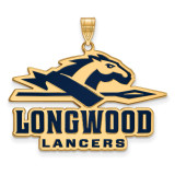 Longwood University x-Large Enamel Pendant in Gold-plated Silver by LogoArt MPN: GP013LOC
