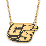 Georgia Southern University Large Enamel Pendant with Chain Necklace in Gold-plated Silver by LogoArt MPN: GP015GSU-18