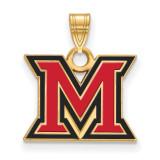 Miami University Small Enamel Pendant in Gold-plated Silver by LogoArt MPN: GP015MU
