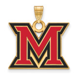 Miami University Large Enamel Pendant in Gold-plated Silver by LogoArt MPN: GP017MU