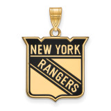 New York Rangers Large Enamel Pendant in Gold-plated Silver by LogoArt MPN: GP029RNG