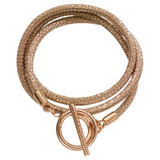 Nikki Lissoni Leather Cord Wrap Bracelet In Reptile Rose Metallic with A Rose Gold-Plated T-Bar Closure Fits 17cm 6.7 inch Charms MPN: B1057RG17 EAN: 8718819234609