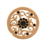 Nikki Lissoni Ancient Black Flower Gold-Plated 23mm Coin MPN: C1155GS EAN: 8718627463109