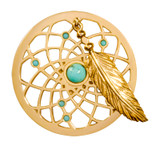 Nikki Lissoni Turquoise Dreamcatcher Dangle Gold-Plated 33mm Coin MPN: C1402GM EAN: 8718627469538