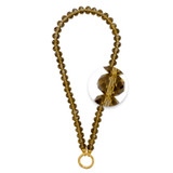 Nikki Lissoni Necklace with Facet Round Smokey Glass Crystal Beads of 8*12mm Gold-Plated Oring Closure 48cm 19in MPN: N1005G48 EAN: 8718819231233